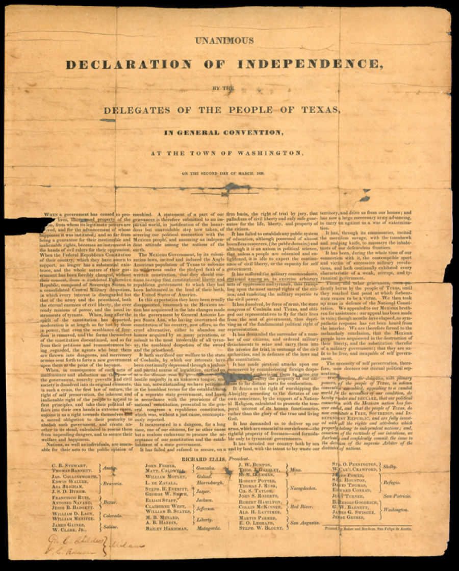 Texas Declaration Of Independence Printed Broadside Republic Of Texas Declaration Of Independence Texas