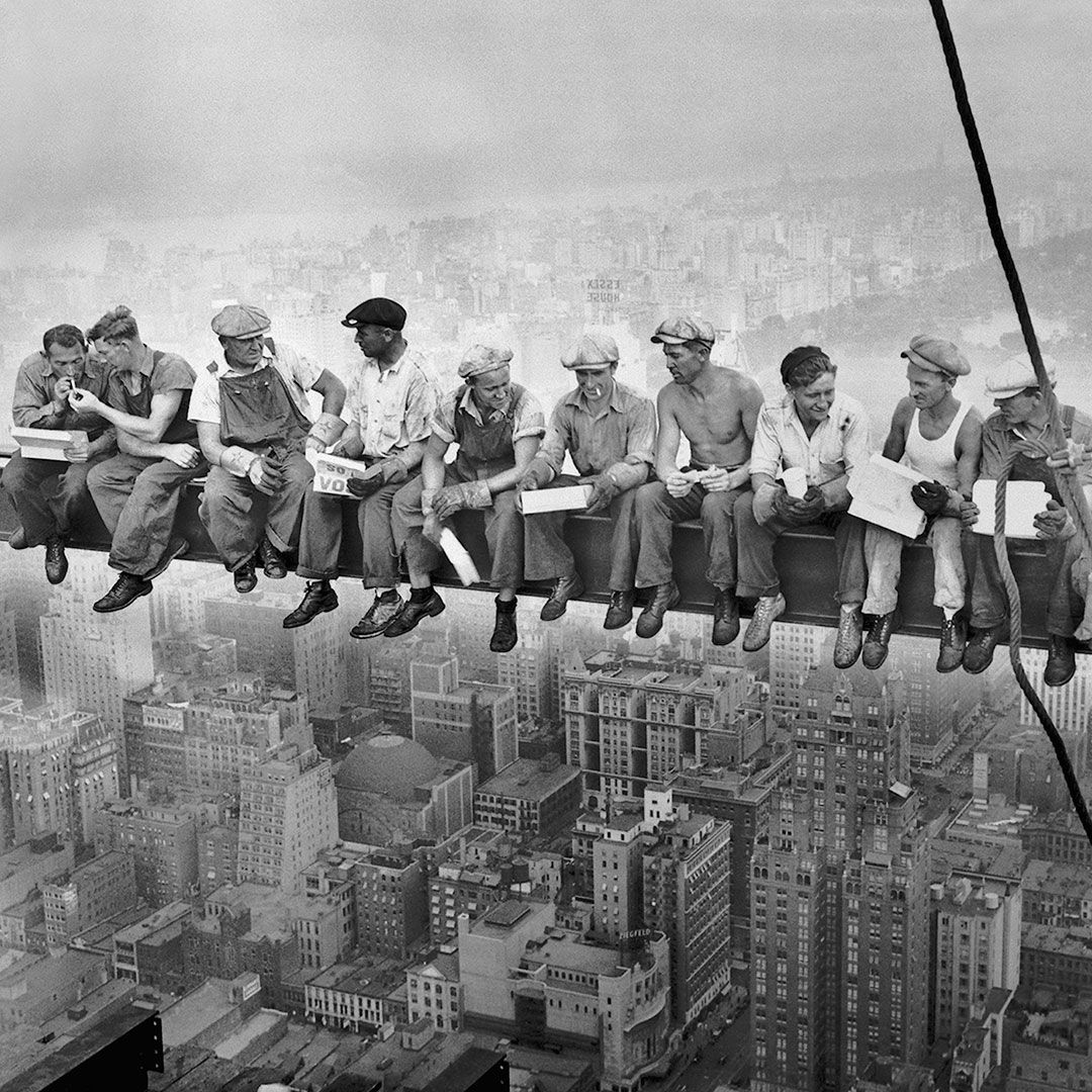 Celebrate Labor Day and the essential people who make New York City work! #laborday #nyc #charlesebbets #rockefellercenter #1932