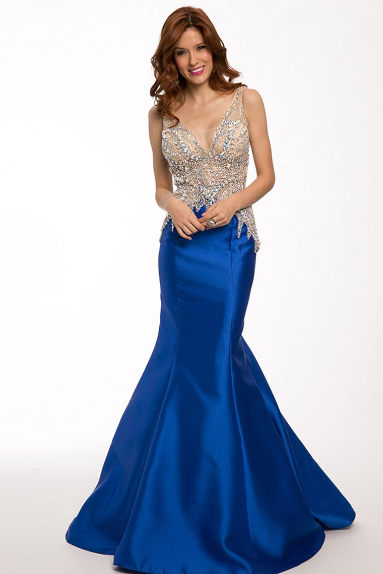twotone mermaid prom dresses vneck beaded bodice satin and