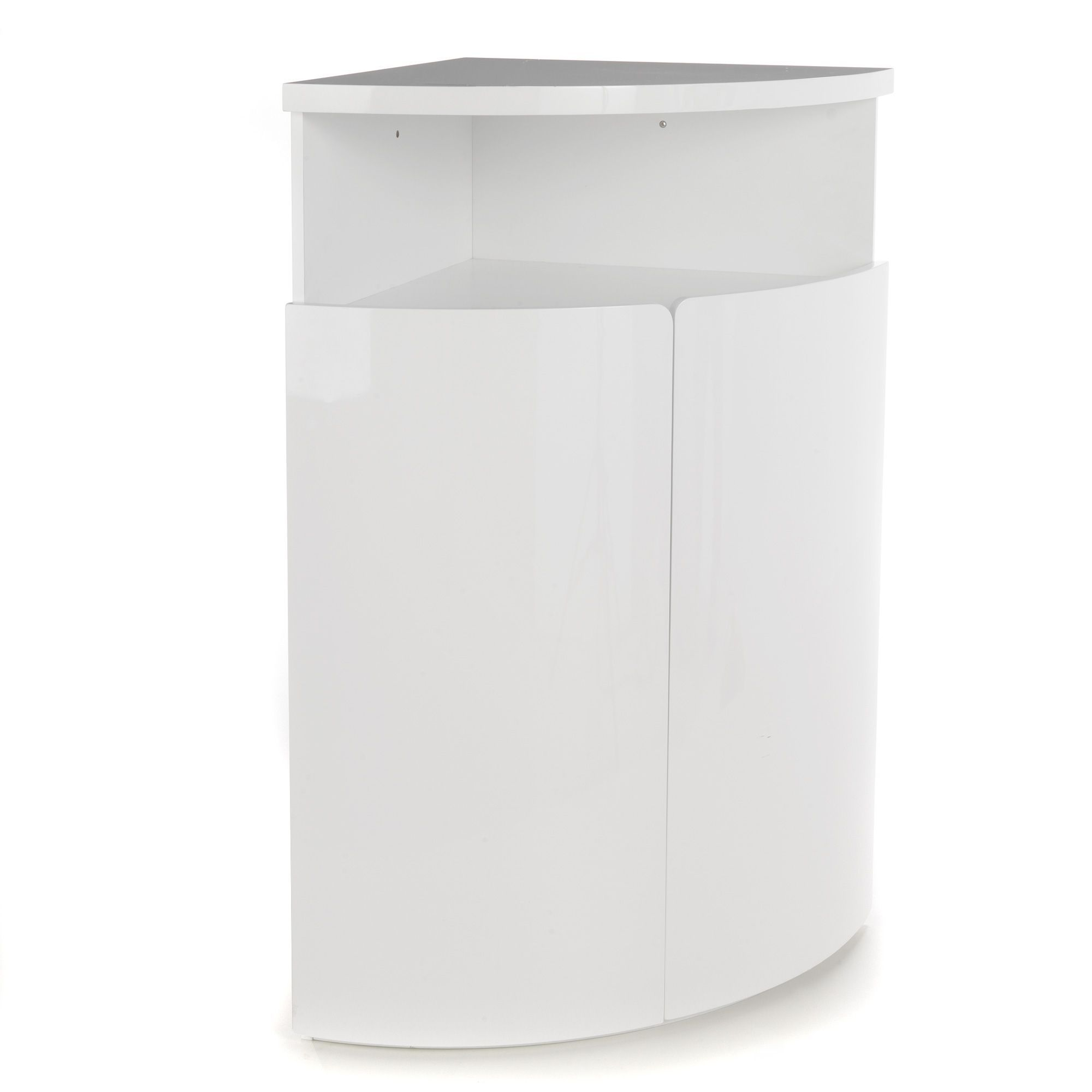 Buffet d 39 angle haut blanc laqu new corner for Meuble tv angle blanc laque