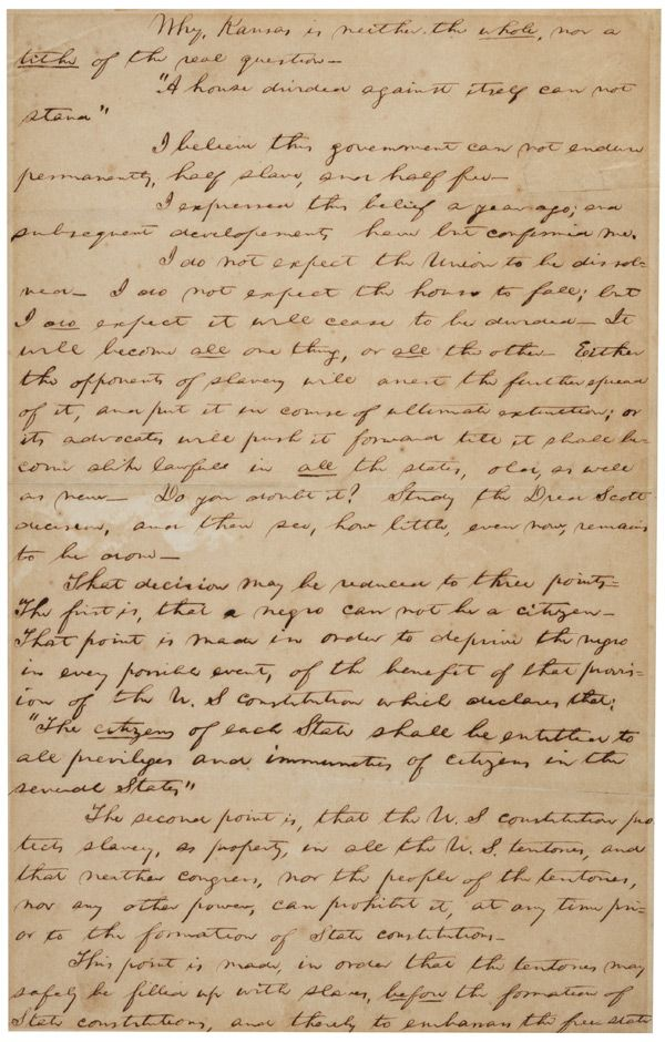 Abraham Lincoln S Notes For The House Divided Speech Ca