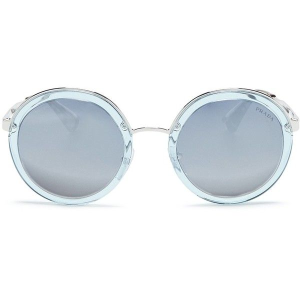 02357db89af Prada Metal rim acetate round sunglasses ( 336) ❤ liked on Polyvore  featuring accessories