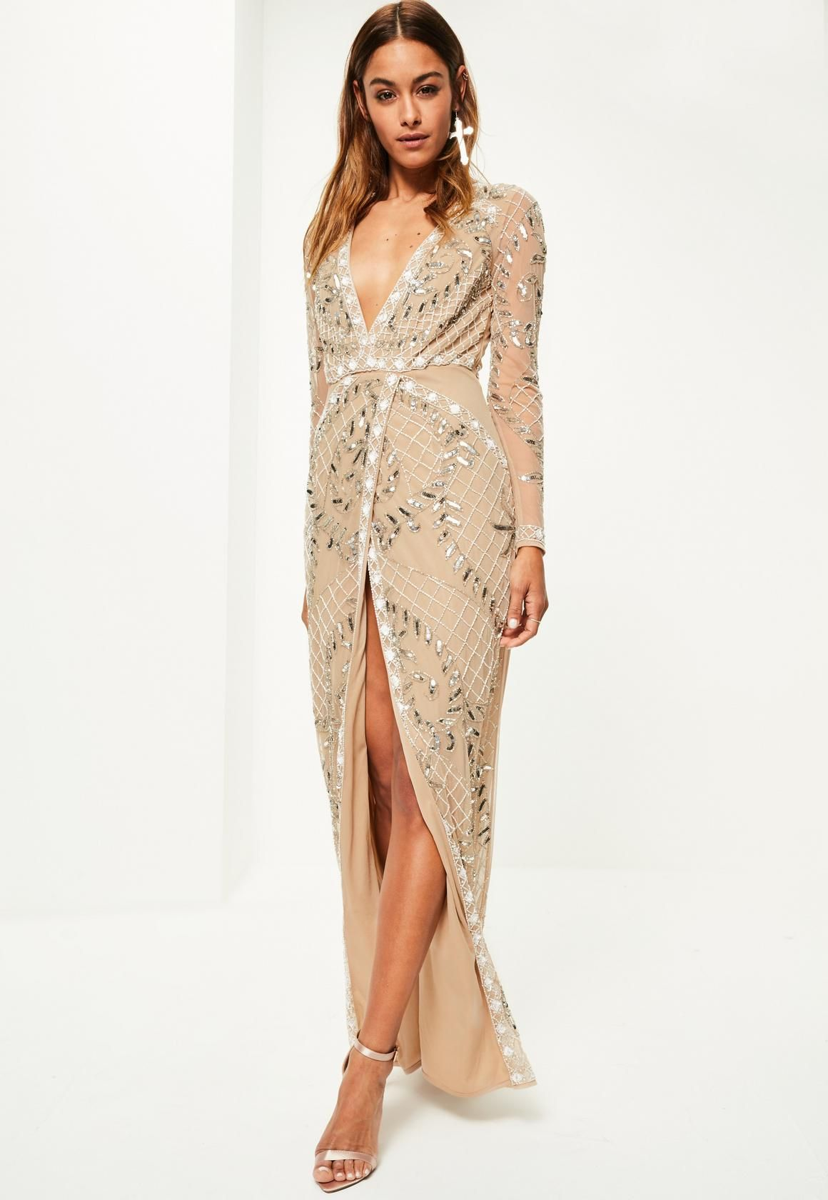 Cheap Sale Authentic Premium Embellished Top Maxi Dress - Cream Missguided View Cheap Online The Best Store To Get jpp78mWeQ