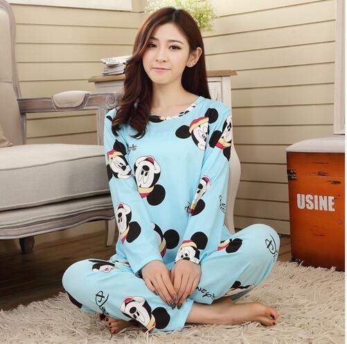 Nuove donne del lungo-manicotto carton sleepwear pajama set biancheria da notte femminile signora Pigiama camicie da notte pigiami home abbigliamento adolescenti