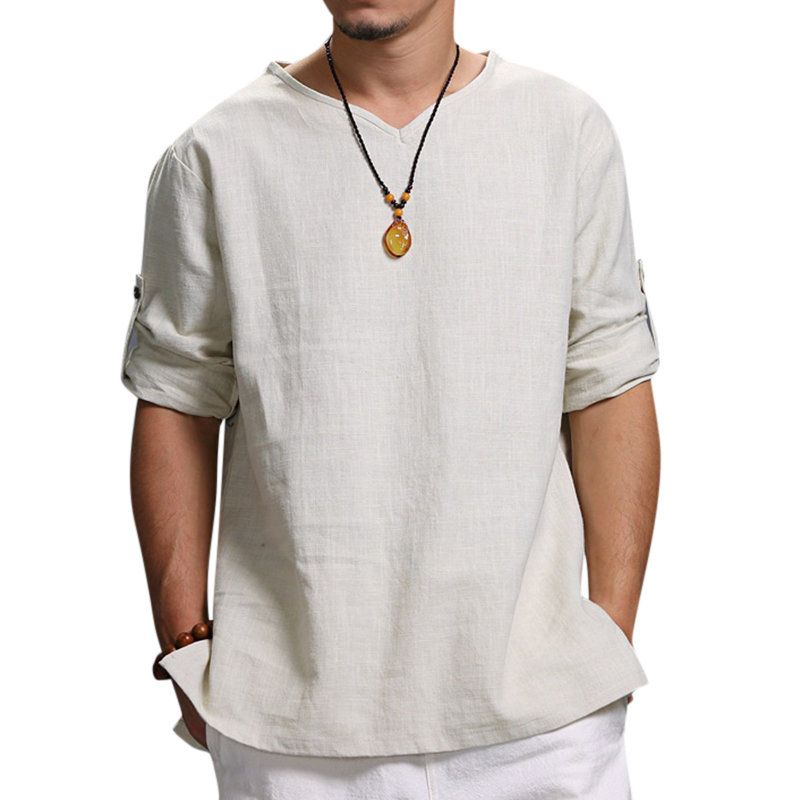 Men Shirts Casual Summer Comfortable Fashion Three Quarter Sleeve V-Neck Solid Linen Blouse Top