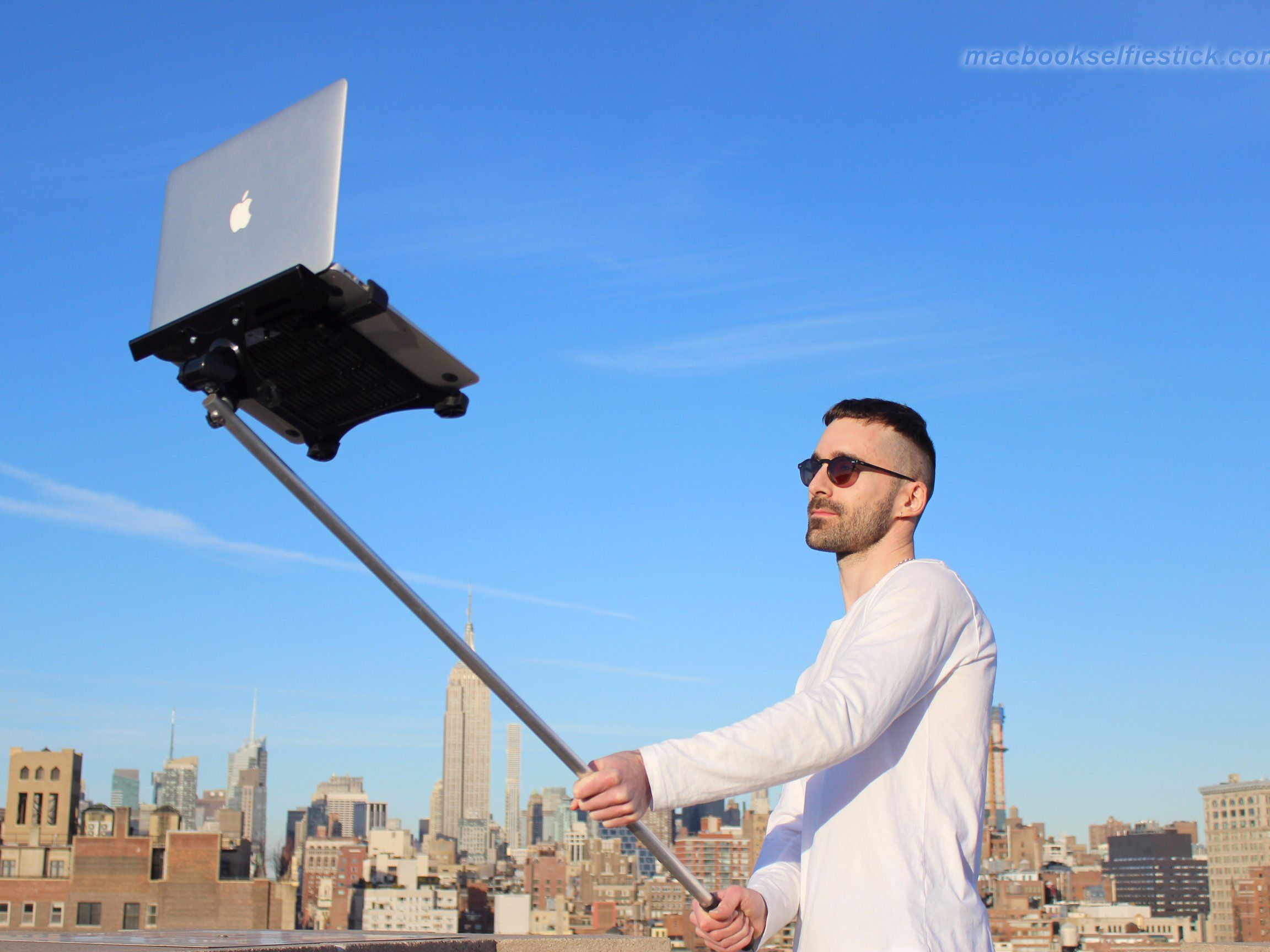 A giant selfie stick for your MacBook — just what you've always wanted!