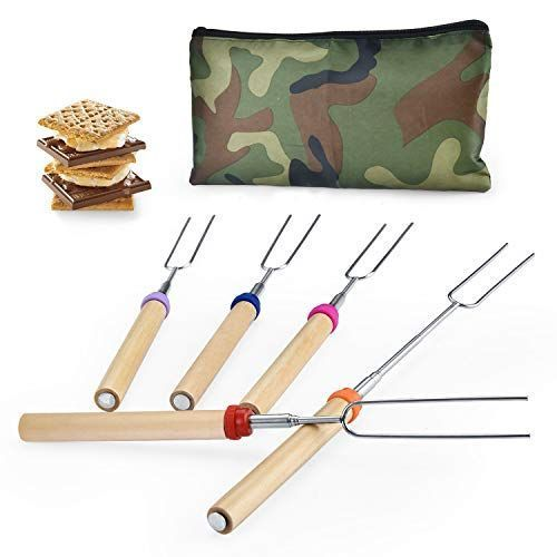 Wup Extendable Rotating Marshmallow Roasting Sticks Set of 5 Smores Sticks for Fire Pit Campfire Roasting Sticks 30 inch #smoressticks Are you hate to break your wood smores sticks for fire pit when you strand food? Are you tired of the wood smores sticks for fire pit which is easy to burn off? Are you worried that your kids is too close to the campfire when barbecuing and camping? Get this reusable smores skewers home #smoressticks Wup Extendable Rotating Marshmallow Roasting Sticks Set of 5 Sm #marshmallowsticks