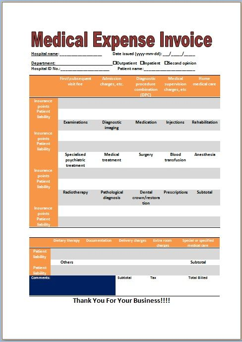 Medical Expense Invoice Template | Medical Invoice Template ...