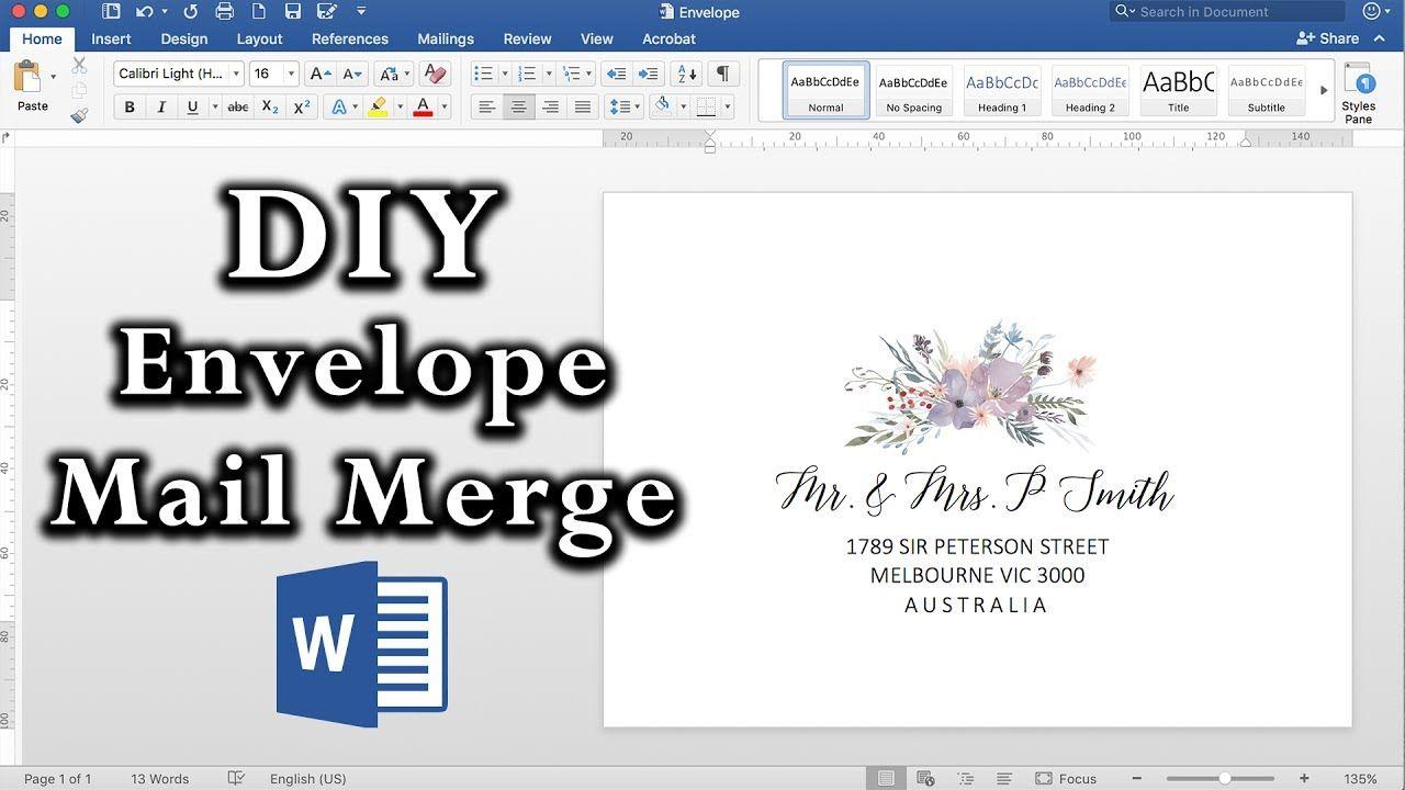 How to easy envelope mail merge in ms word diy