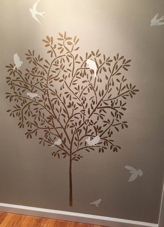 Stencil - Large Olive Tree - Wall Stencil - Reusable/Reversible Diy