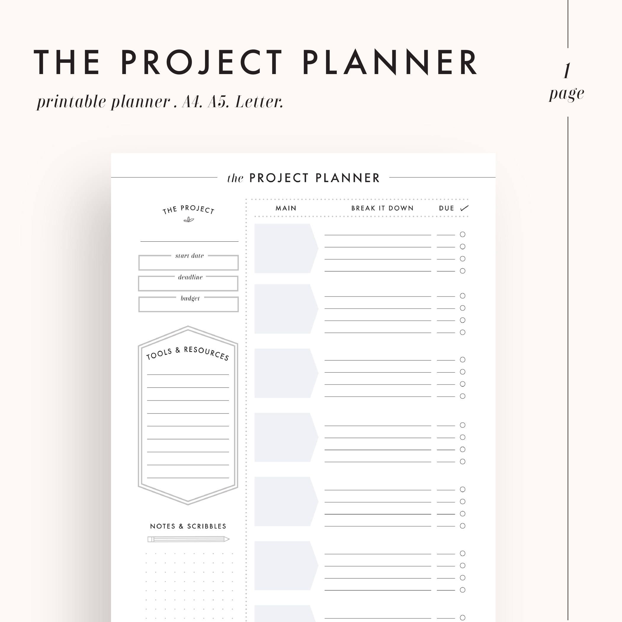 Whats Included Project Planner 1 Page