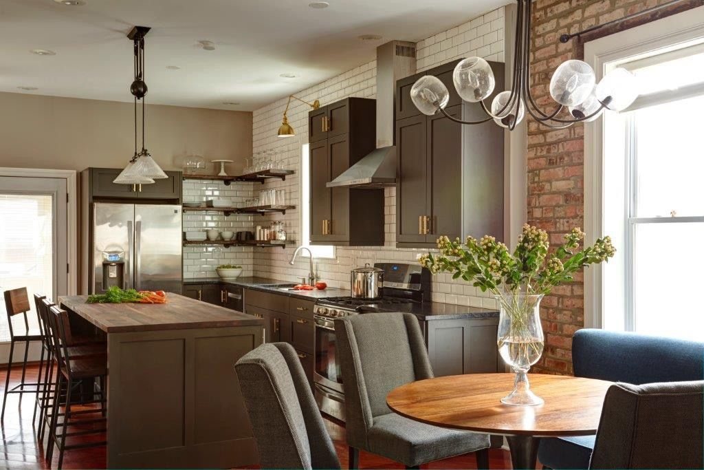 40 rooms with exposed brick detail  kitchen design