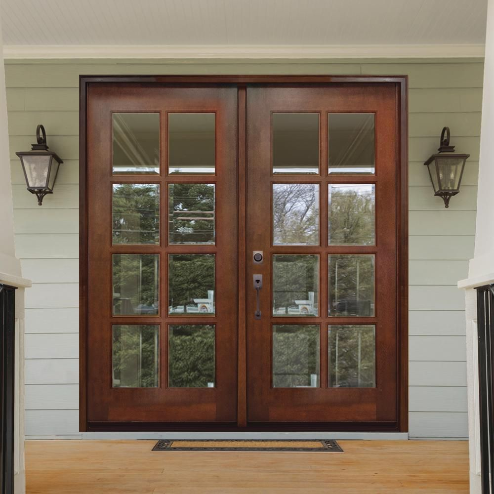Steves Sons 60 In X 80 In Craftsman Richmond 8 Lite Right Hand Inswing Chestnut Mahogany Wood Prehung Front Door M8410 60 Ct 4irh The Home Depot In 2020 Entry Doors Wood Front Doors Wood