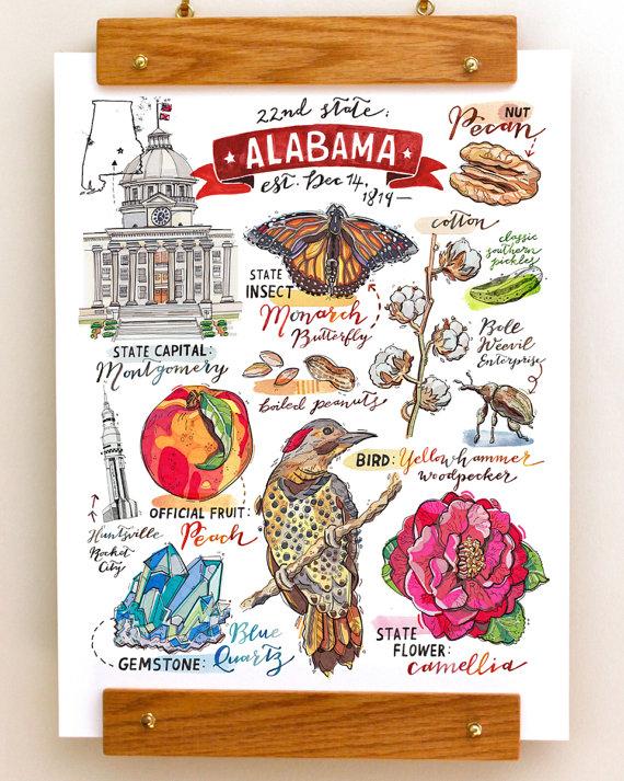 Alabama Print Illustration Map Southern Pride Art Print State