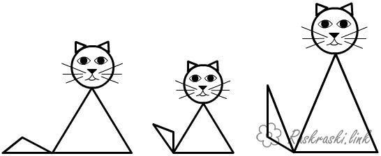 Раскраски Раскрась геометрические фигуры коты из ...