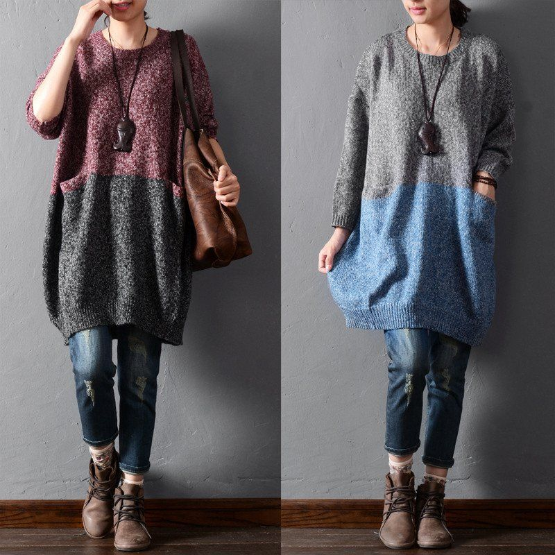 Solid color stitching sweaters - Tkdress  - 2