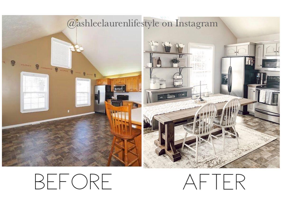 @ashleelaurenlifestyle on Instagram #diy #beforeandafter #beforeandafterdesign #painting #sherwinwilliams #shanty2chic #farmhousekitchen #modernfarmhousestyle #farmhousestyle #modernfarmhousekitchen #modernfarmhousedecor #openshelving  #interiordesign #interiordecorating #cozyhome #fixerupperstyle #ashleelaurenlifestyle #cottagestyle #cottagewhite #homedecorblogger #kitchensofinsta #diyonabudget