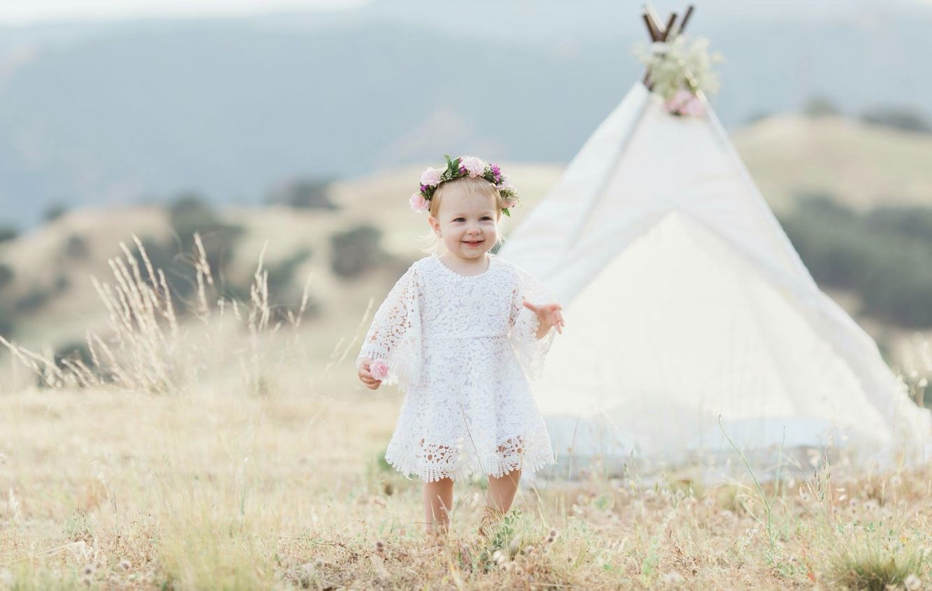 2nd Birthday Photo Shoot Second First Boho Baby Flower Crown Tamera Marie Photography Bohemian Country Sunset Teepee Style