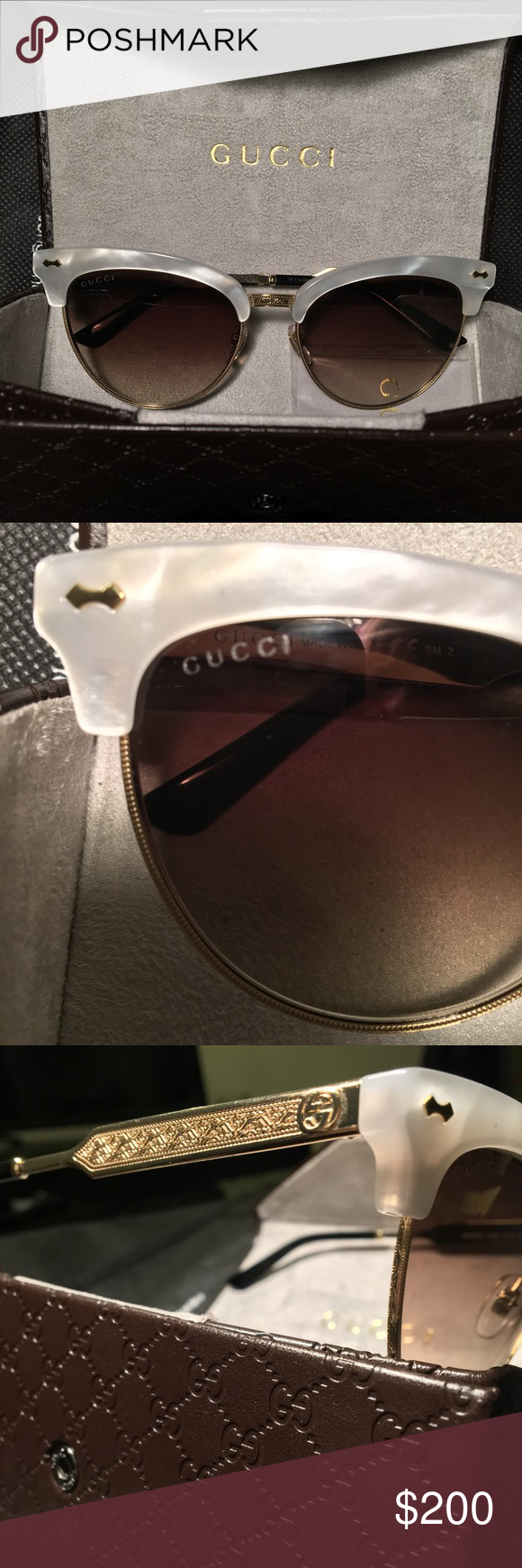 f1a1b940c00 New SUNGLASSES CAT EYE MOTHER OF PEARL   GOLD This fantastic pair of Gucci  sunglasses is
