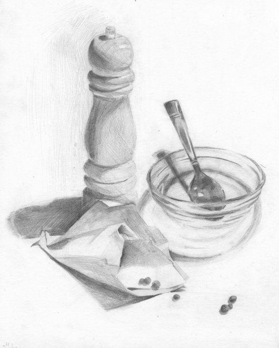 Stillleben Die Zeichnung Pfeffermühle Pfeffer Von Madareli