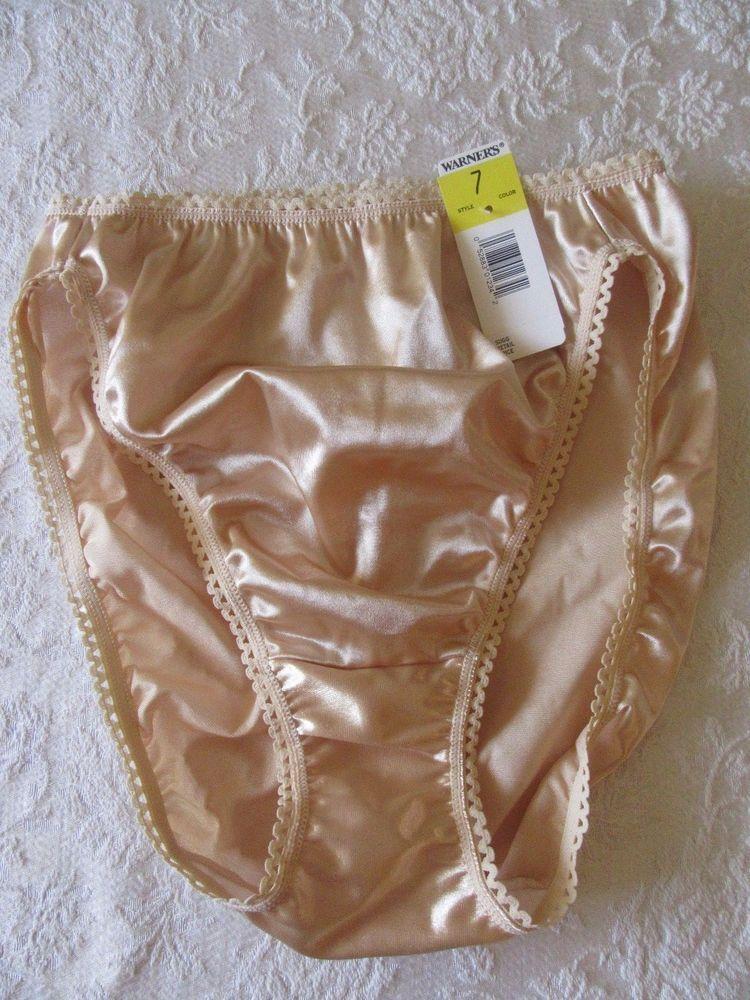 edb5f47b85b2 Vintage Warners Panty Bright Shine Liquid Gold Satin Lace Trim Size 7 NWT  #Warners