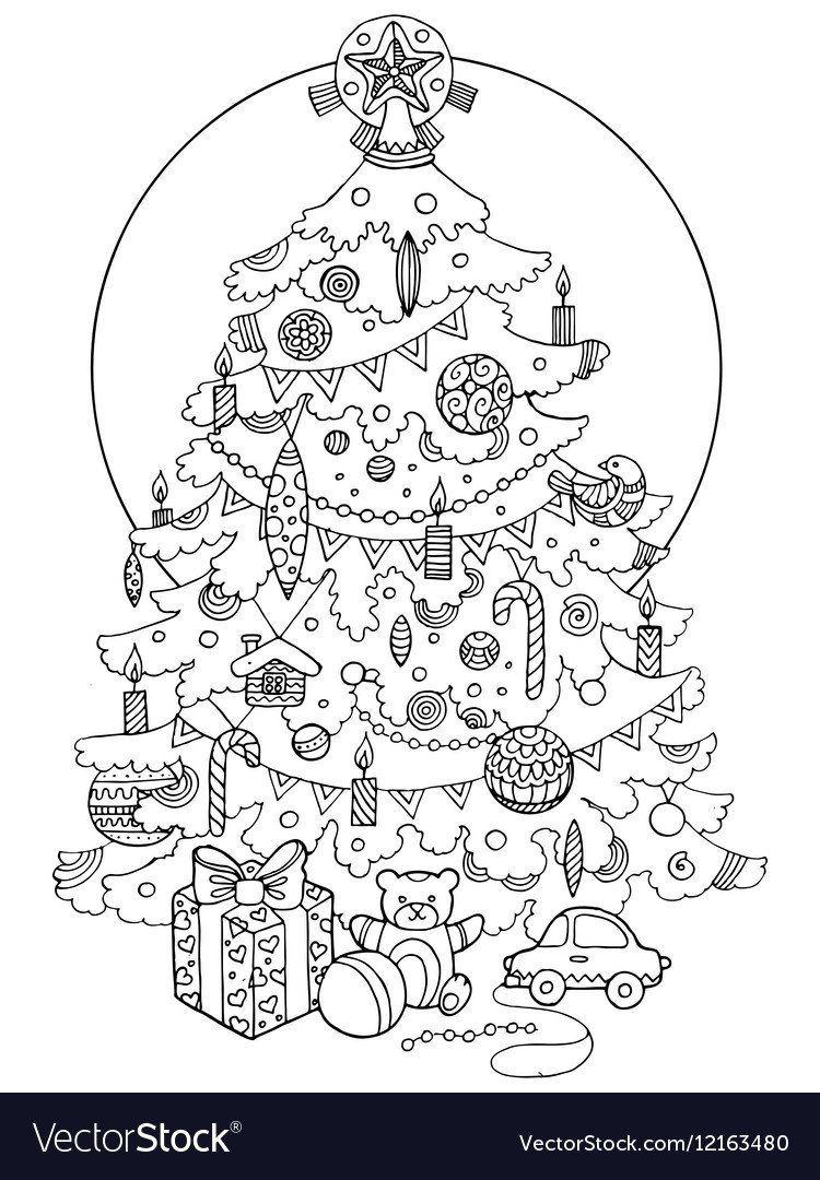 Christmas Tree Coloring Book Christmas Tree Cartoon Coloring Book In 2020 Coloring Books Book Christmas Tree Cartoon Coloring Pages