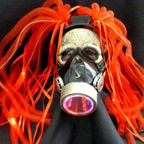 Steampunk LED light dread cyberlock goth RAVE club face gas mask-A1-17…