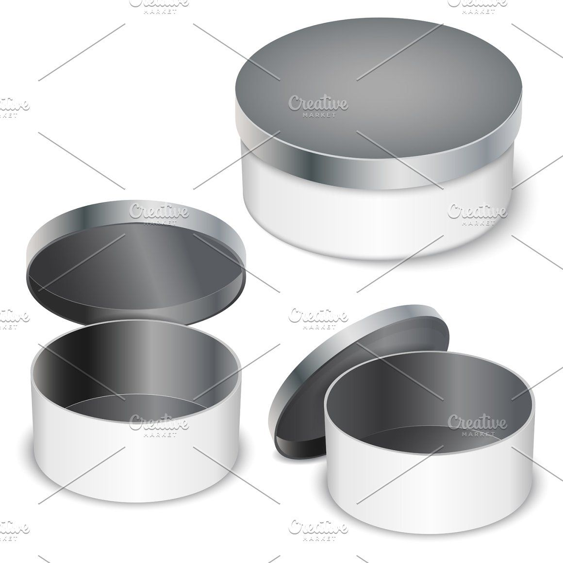 Open Round Metal Box Box Tin Isolated Steel White Blank Shipping