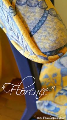 Chair Makeover in Blue and Yellow Toile