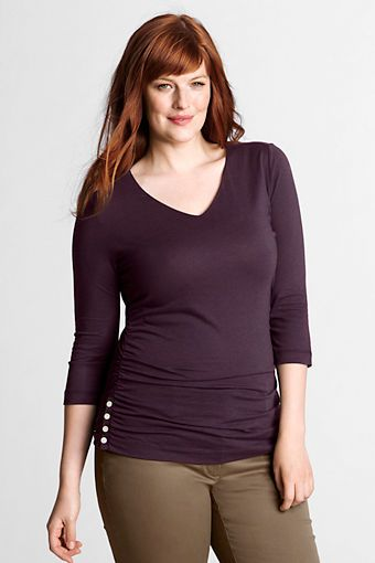 cd27cce5bd638 Aubergine (plum) Women's Plus Size 3/4-sleeve Soft V-neck Side-shirring Top  from Lands' End
