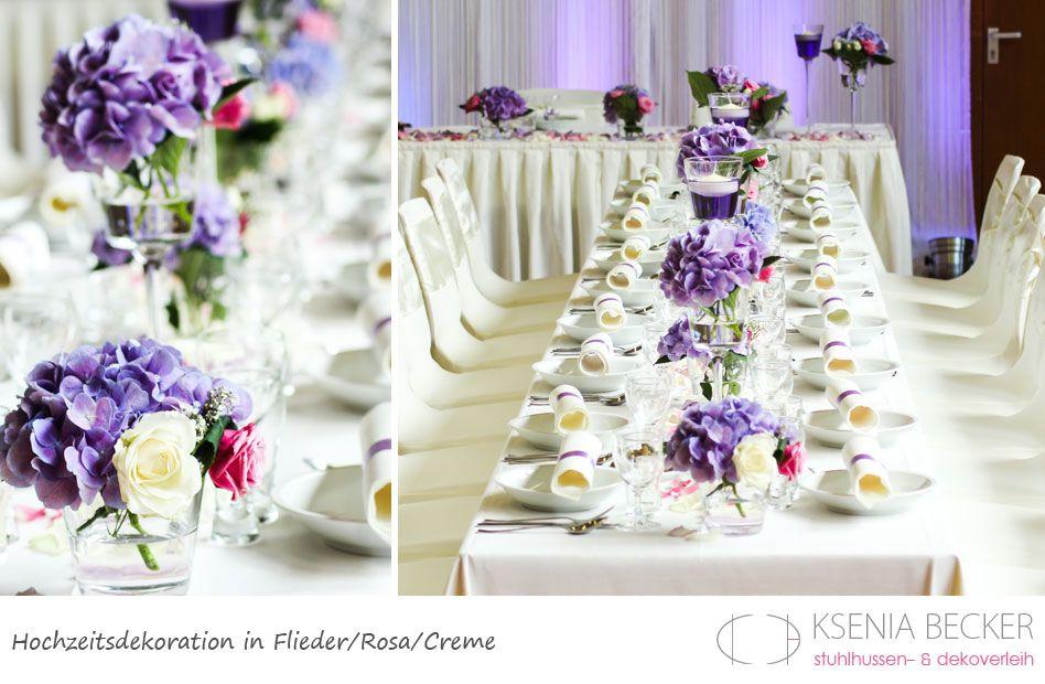flieder rosa hochzeitsdekoration tischdekoration mit hortensien, Gartenarbeit ideen
