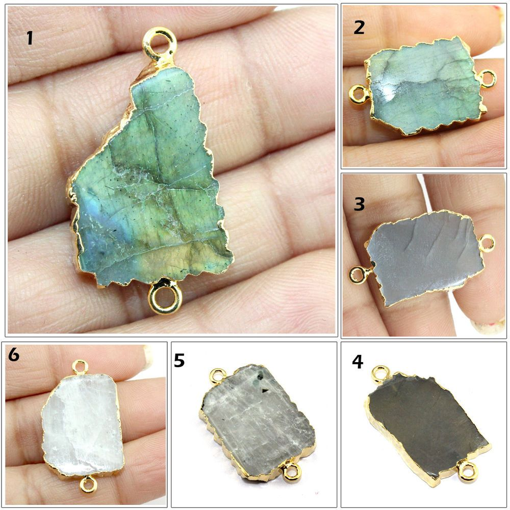 Round Shape Natural Fire Labradorite Gold Plated DIY Earring Pair Connectors