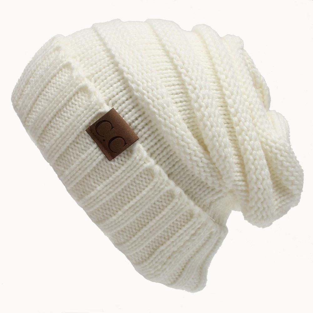 CC Beanie - Stretch Cable Knit Slouch, Skully Ski Hat - Beige | Gorros