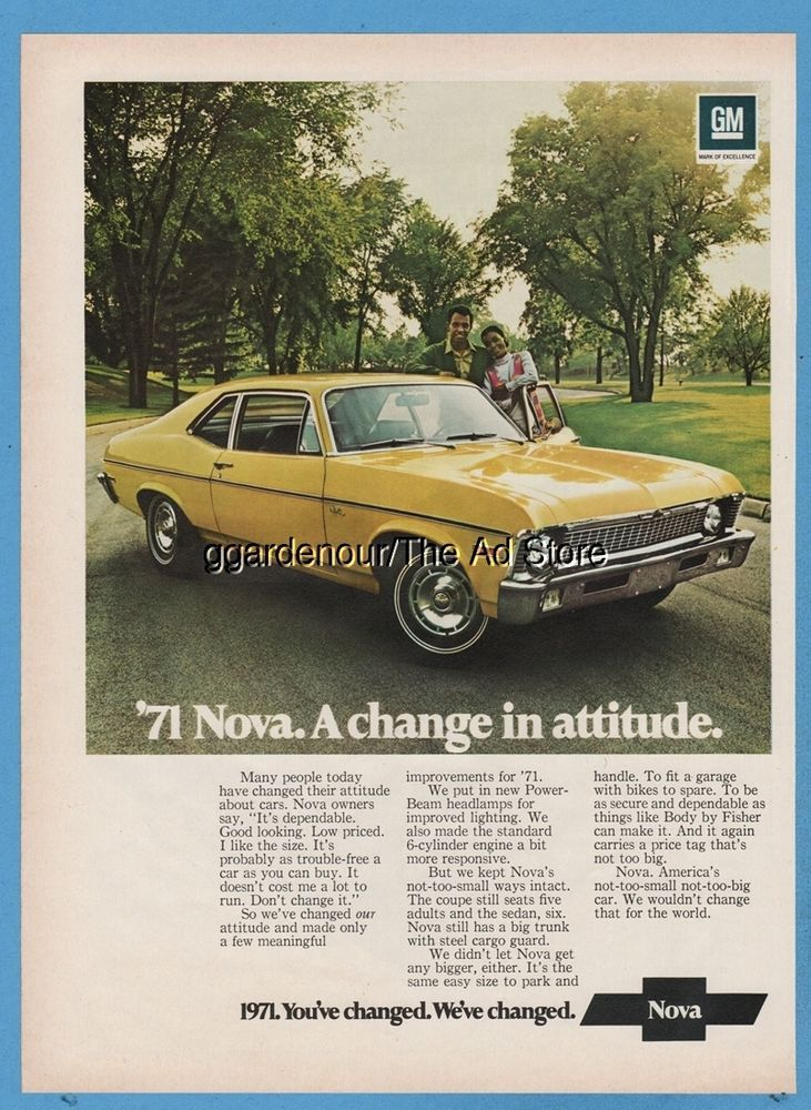 1971 Chevy Nova Yellow Coupe Chevrolet A Change In Attitude Car Photo Print Ad Chevy Nova Automobile Advertising Classic Cars Trucks