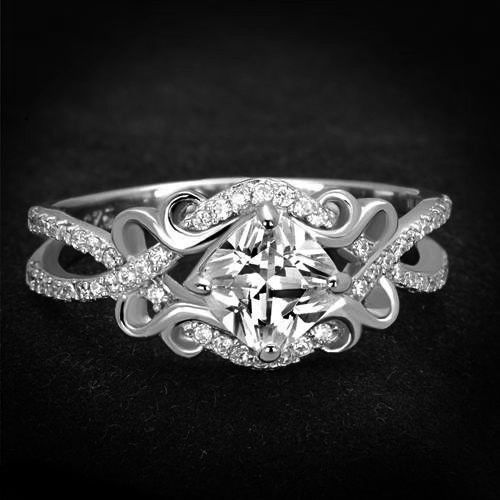 Perfect 2.5CT Princess Cut Russian Lab Diamond Promise Engagement Anniversary Wedding Infinity Ring