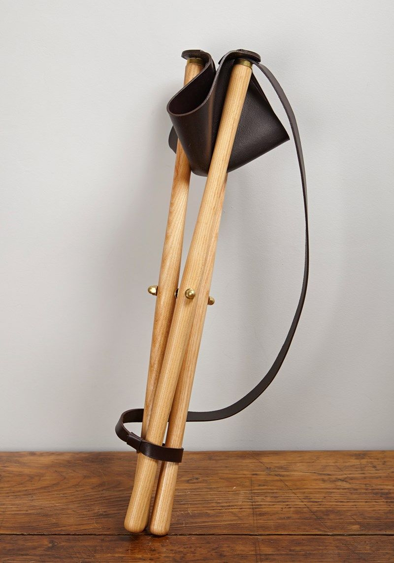 Tripod Field Stool English Ash Brass And Leather