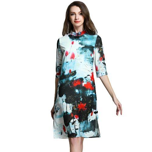 Women Vintage Cheongsam Dress Floral Print Stand Collar Half Sleeves Chinese Style Summer Evening Dress Green