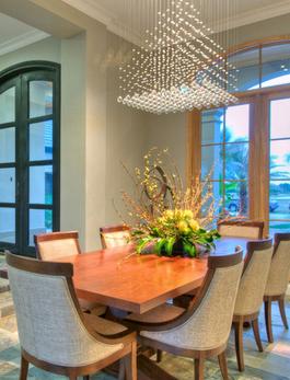 Pyramid chandelier in dining room - from Designer Chandelier
