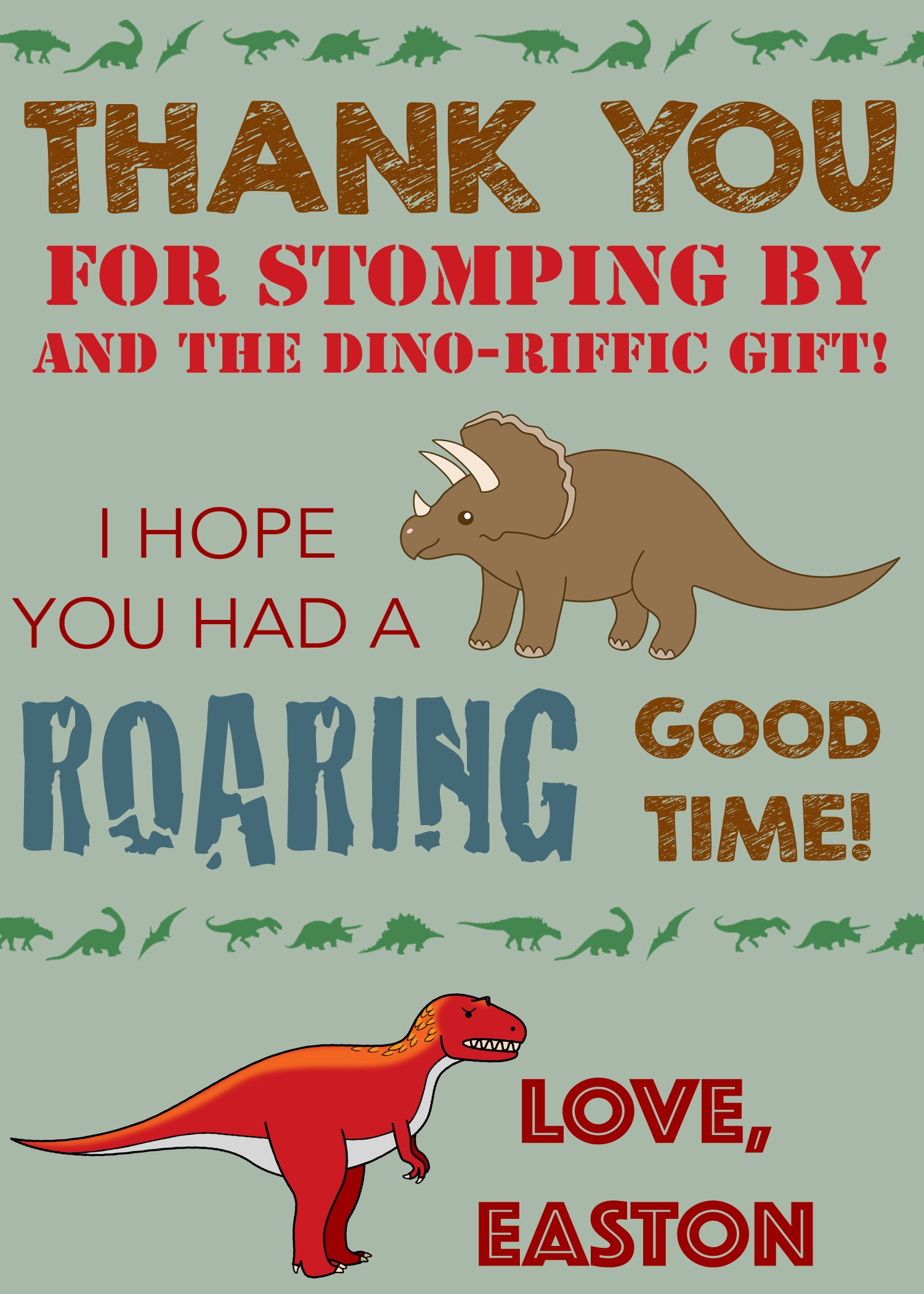 Dinosaur thank you card dinosaur thank you note dinosaur