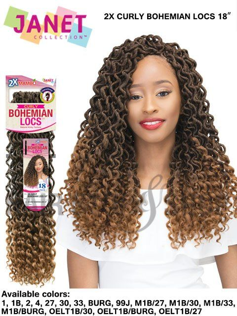 Janet Collection 2x Mambo Curly Bohemian Locs Crochet Braid 18