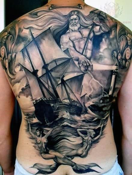 Nautical Tattoo Poseidon And Ship: 70 Ship Tattoo Ideas For Men