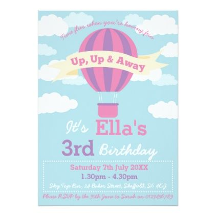 Hot air balloon themed birthday party invitation birthday gifts hot air balloon themed birthday party invitation filmwisefo