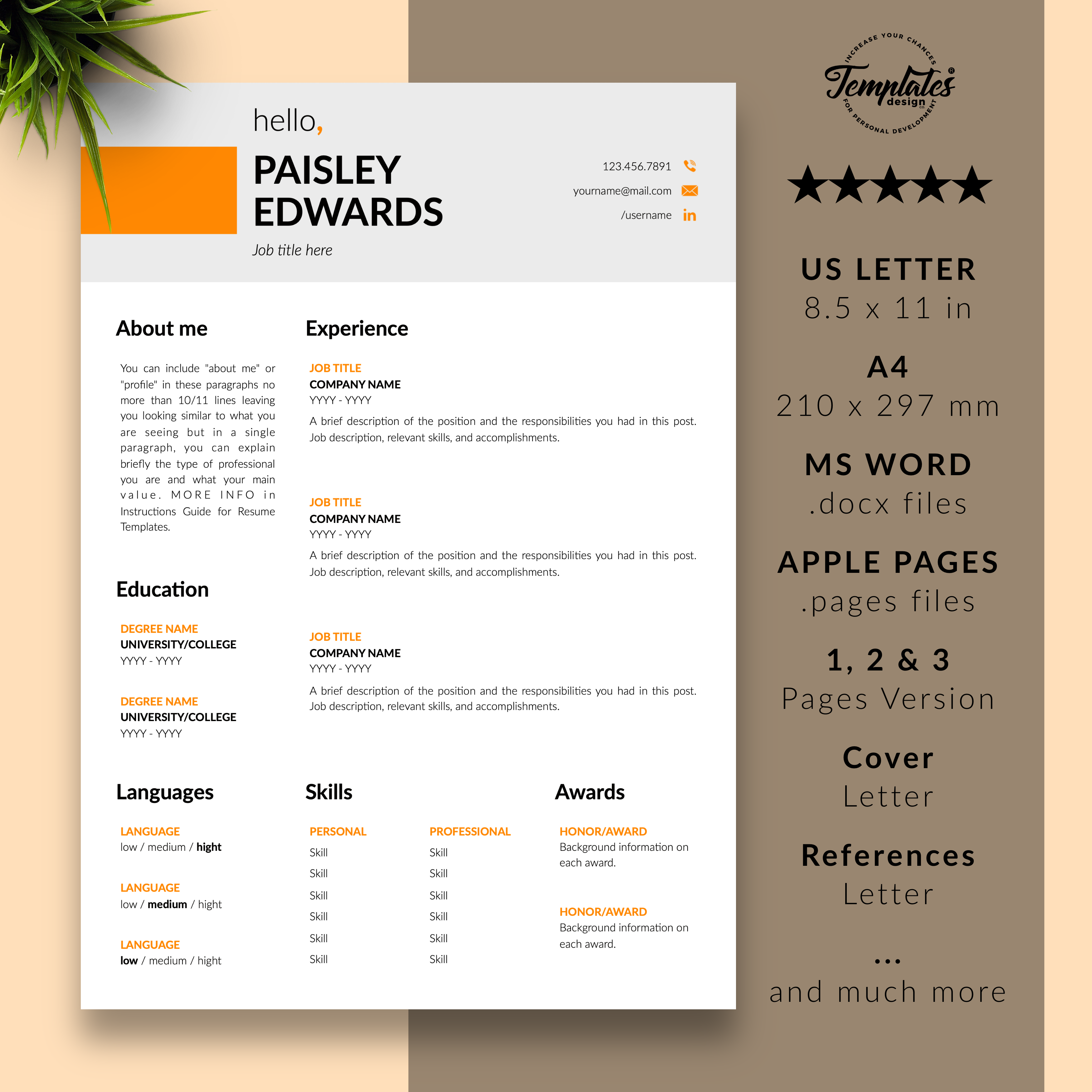 Paisley Edwards Modern Resume Cv Template For Word Pages Us Letter A4 Files 1 2 3 Page Resume Version Cover Letter References Cover Letter