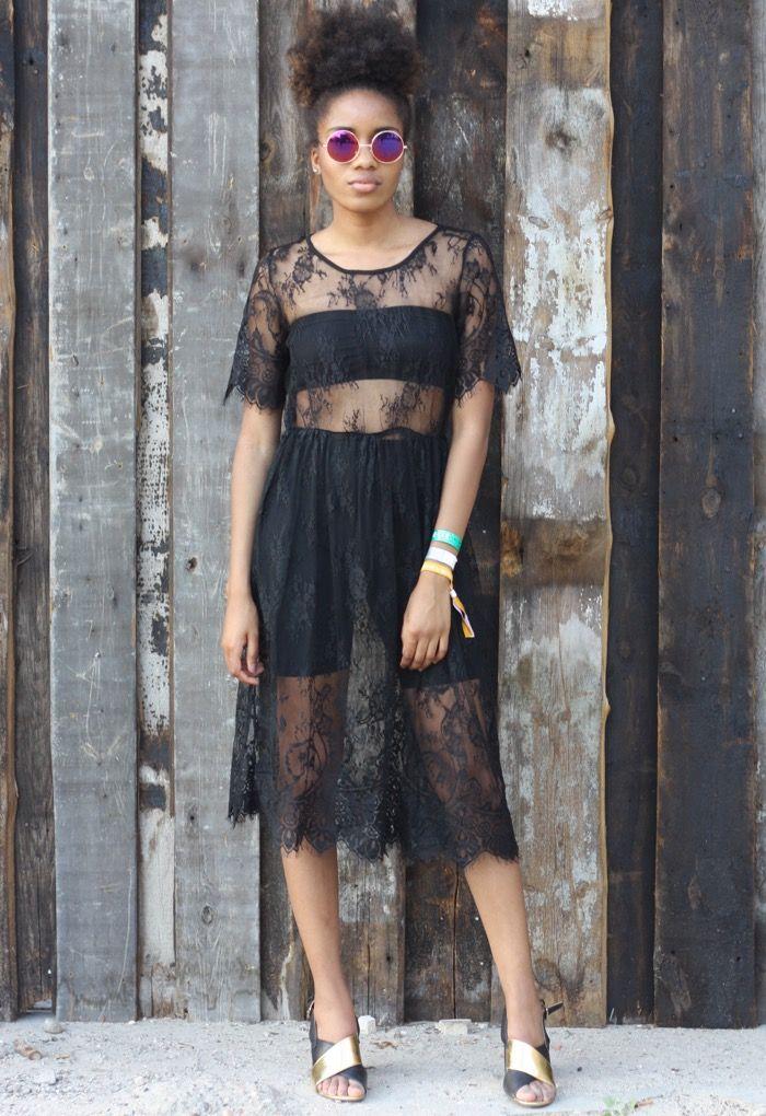 Schwarzes kleid transparent