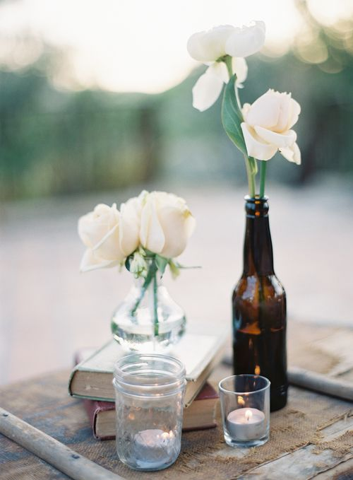 Malibu Wedding :: Photography Kurt Bomer #Malibu #wedding #events #vintage #bottles #bud #books #vintagewedding #rusticwedding