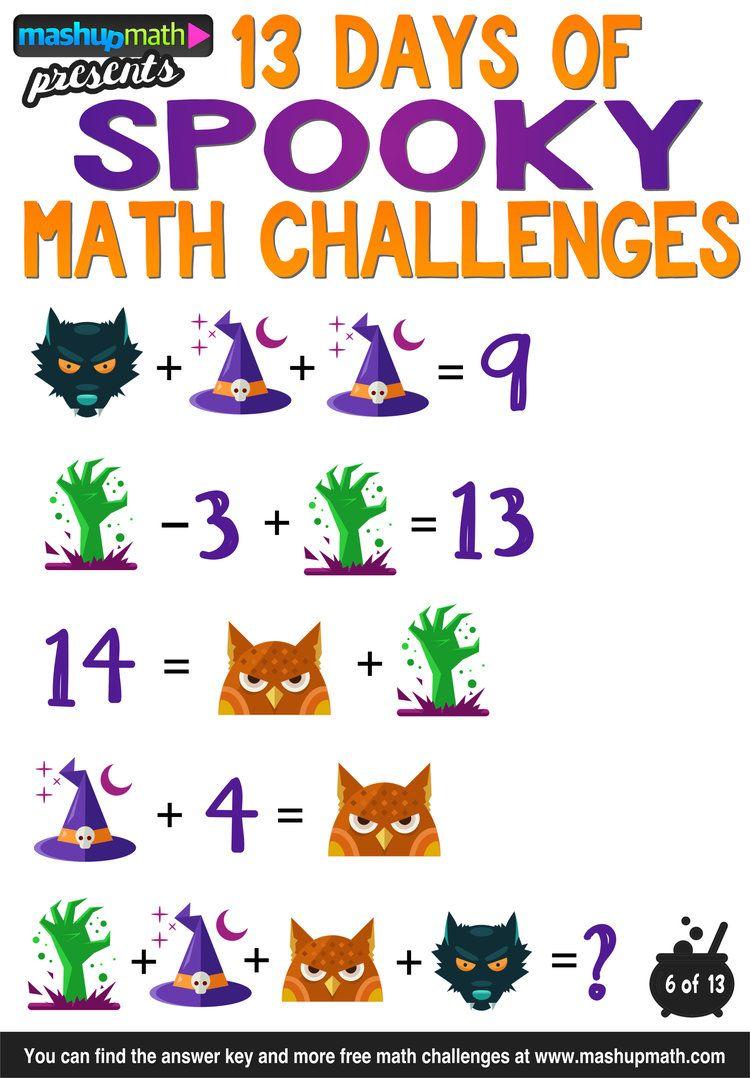 Halloween Math 13 Days Of Spooky Math Challenges For Grades 1 8 Mashup Math Math Challenge Halloween Math Halloween Math Activities [ 1078 x 750 Pixel ]