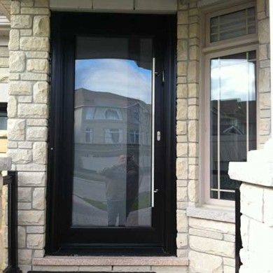 Modern glass front doors for homes ashley frosted front for Exterior doors with glass