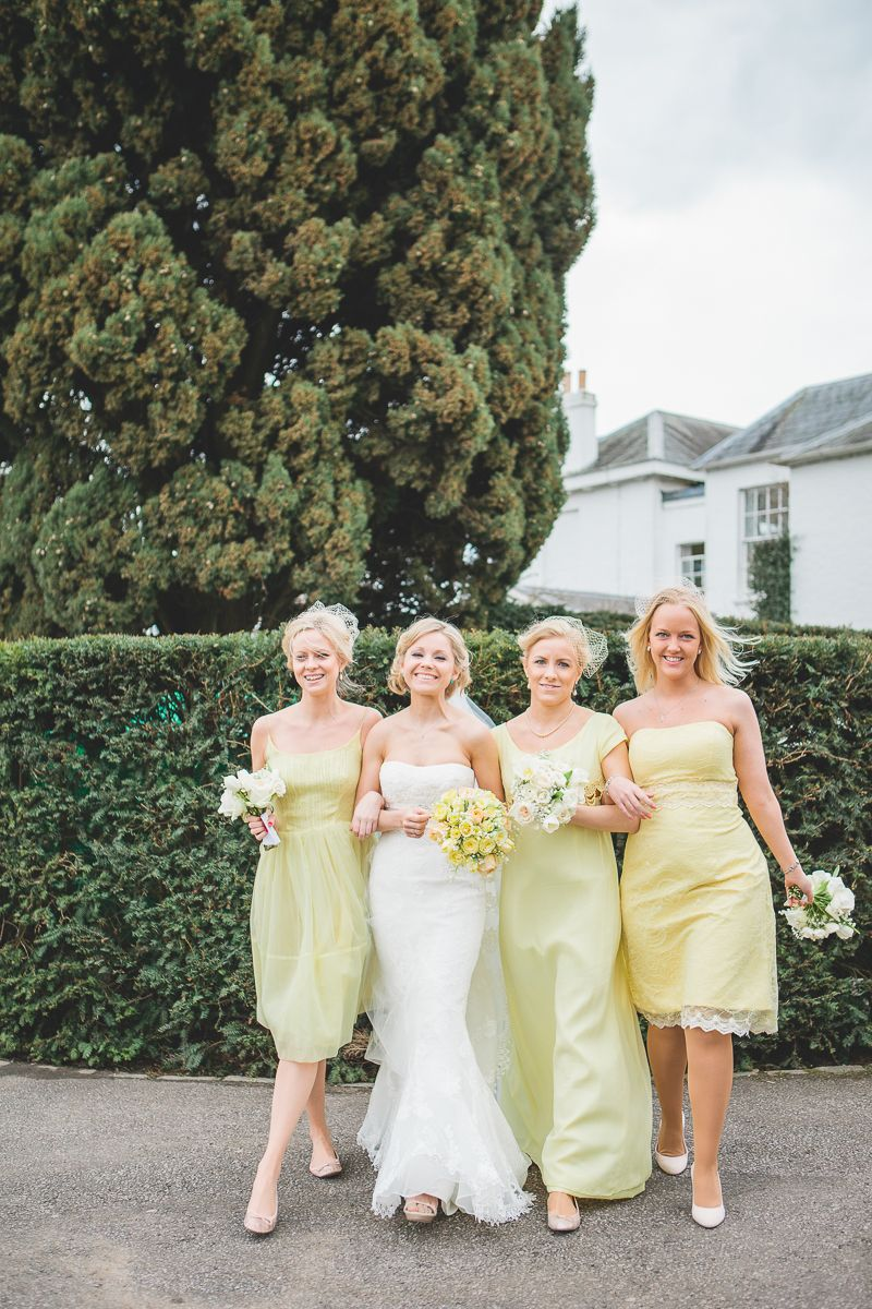 A yellow themed vintage inspired wedding bridesmaids party colour