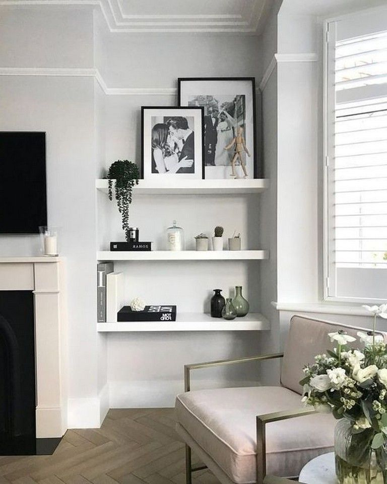 Warm Minimalist Living Room: 20+ Cool Shelf Decor Living Room To Beautify The Room