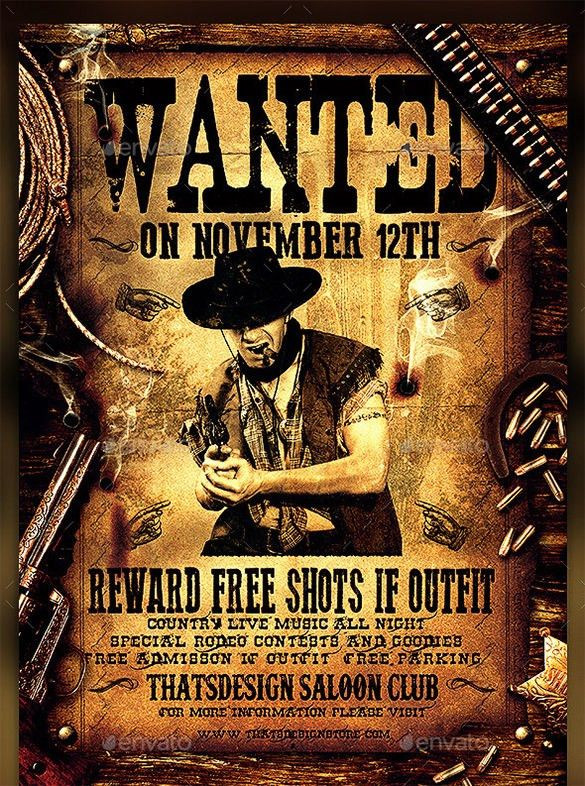 14 western wanted poster free printable word pdf psd vector Template